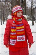 докупила ещё такой же розовой и связала себе комплект из шапки и шарфа на зиму. пуловер.  2005–2006 гг. Очень...