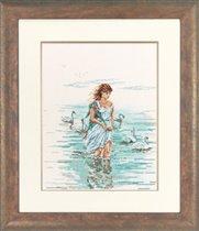 Набор для вышивания Девушка с лебедями, Lanarte 34732 купить в санкт петербурге Шале, Линда 27, Счетный крест.
