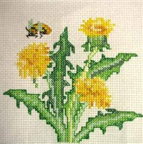 flowers.  Одуванчик, 10х10, аида 14, счетный крест. insects.  Метки.  Номер.
