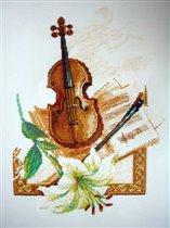 Набор для вышивания Скрипка с лилией, Риолис 666 купить в санкт петербурге Шале, Aida 16 (К6), Счетный крест.