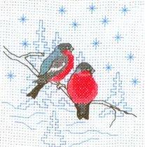 Набор для вышивания Снегири, РТО Н056 купить в санкт петербурге Шале, Aida 18, Счетный крест.  В наборе: мулине DMC...