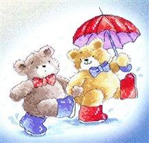 Канва для вышивки крестиком Медвежата.  Прогулки под дождем.
