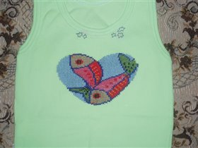 Вышивка на детской одежде - Пятачок на дочкином песочнике.  14.