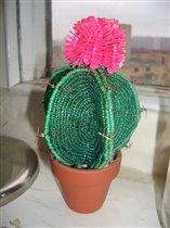 Кактус сделан по схеме мастера бисерной флористики Алёны Башкатовой(hipez).  Цветок из пайеток.