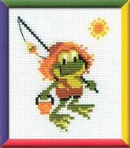 """Описание: Схема для вышивки крестом - Лягушка в формате jpg.  Из набора  """"Сотвори сама """"."""