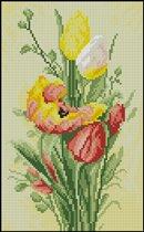 """Схема вышивки  """"Тюльпаны """": таблица цветов."""