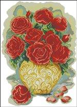 """Схема вышивки  """"Розы в золотой вазе """" ."""