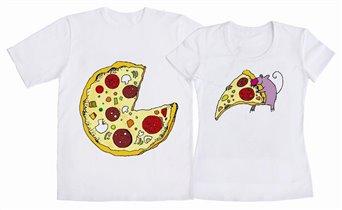 ФУ3П-0496 - Футболки парные белые Пицца.