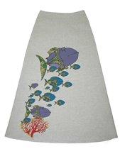 Ю1С-0215 - Юбка льняная длинная серая Рыбы и корал