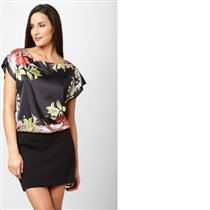 NINE WEST Flower Print Blouson Dress Color: Heatw