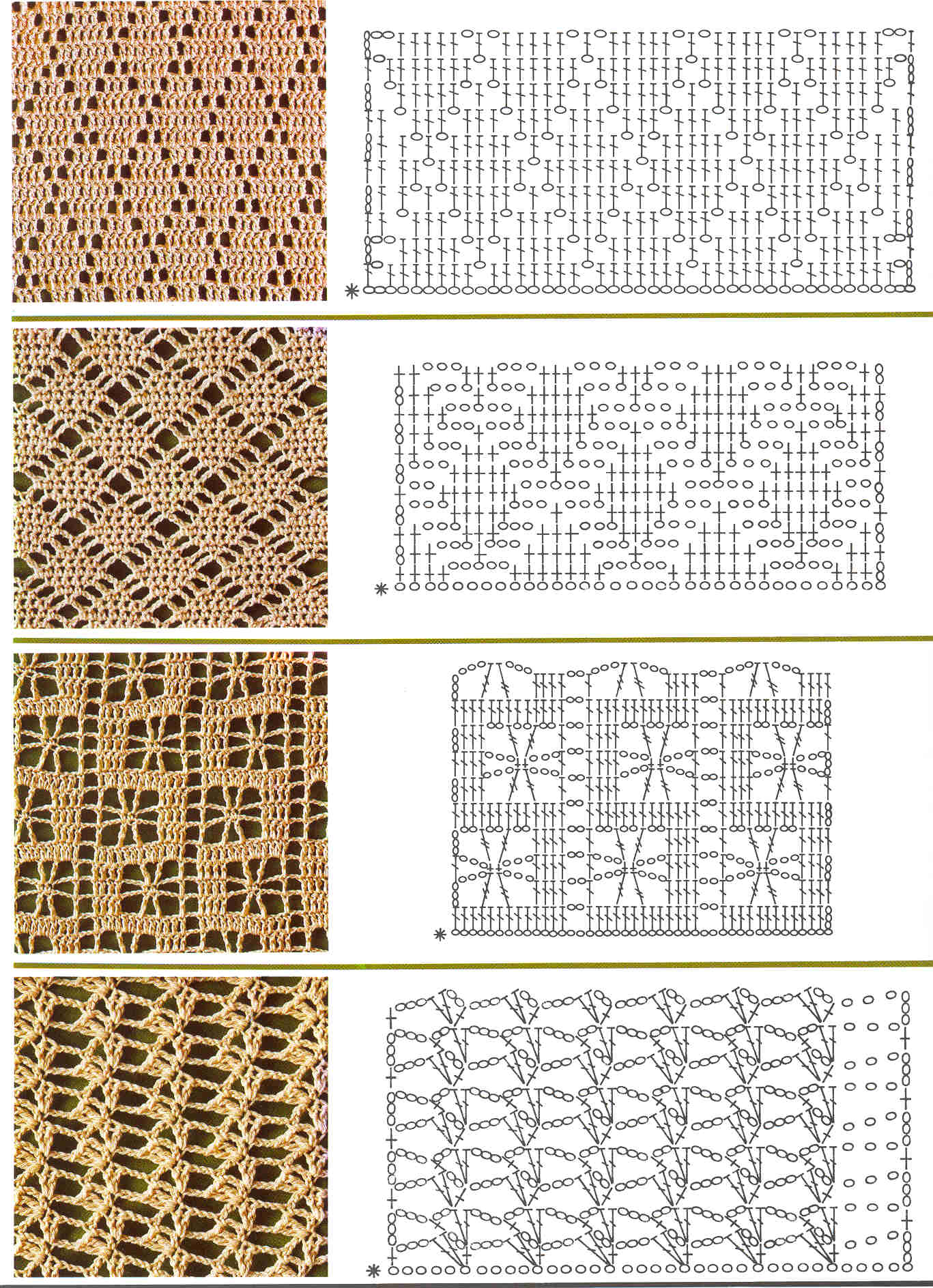 Схема ажурного узора крючком с описанием и схемами