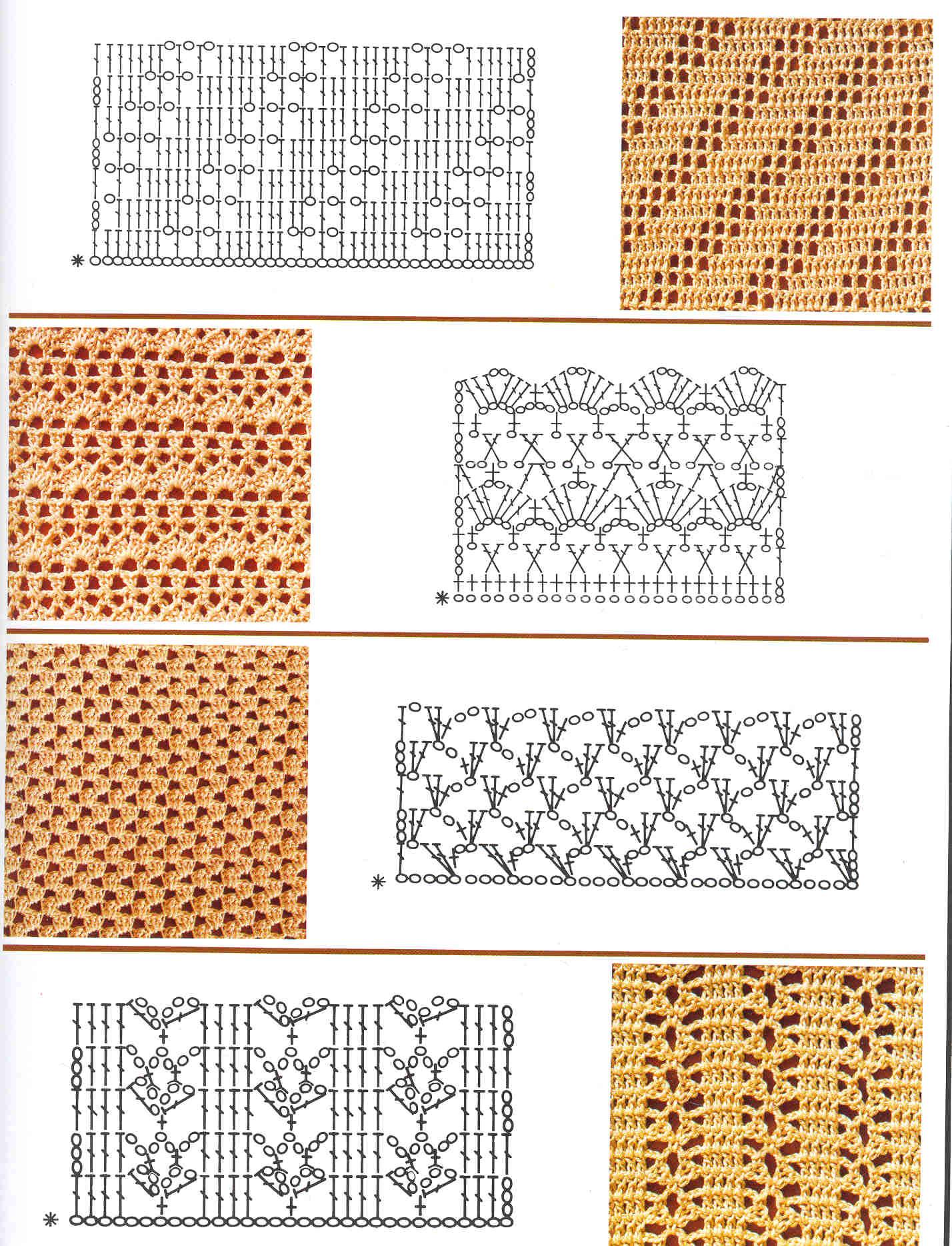 Вязание крючком фото узоров схемы и описание