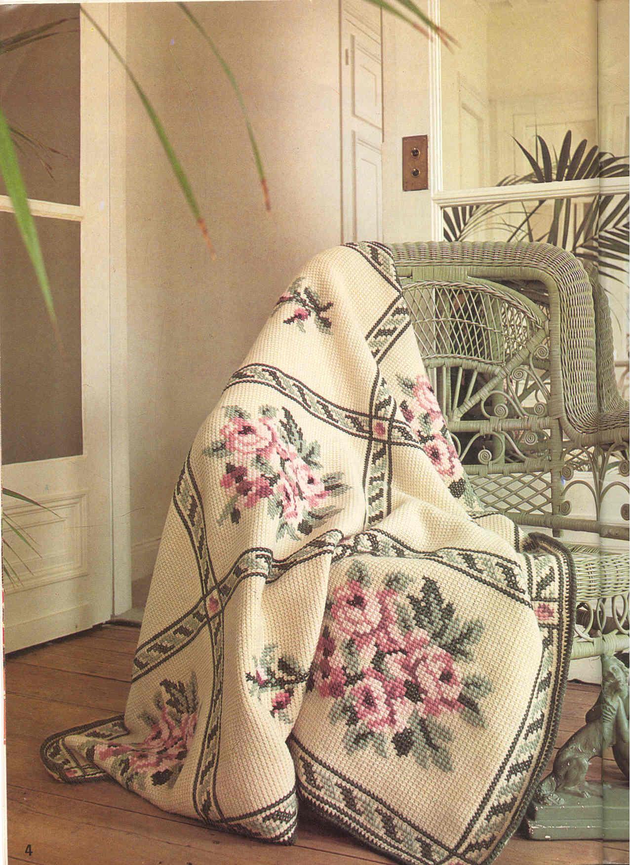 Плед в стиле тунисского вязания
