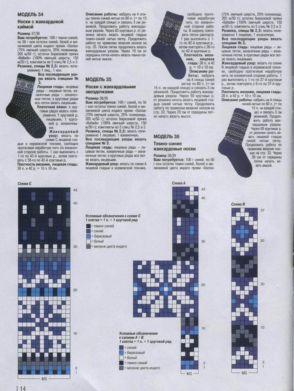 Вязание рисунка на носках спицами