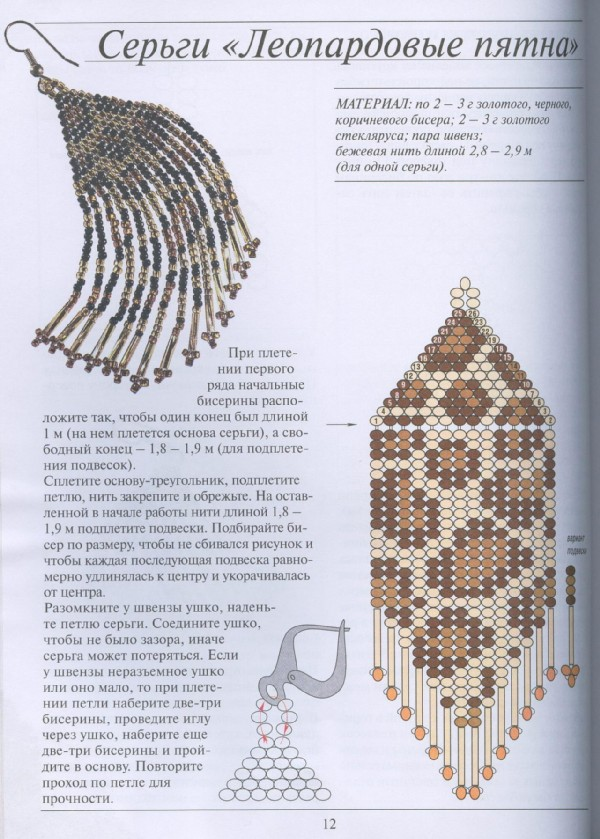 Серьги из бисера своими руками мастер-класс, схема Коробочка.  Серьги Мастера рукоделия - рукоделие для дома.