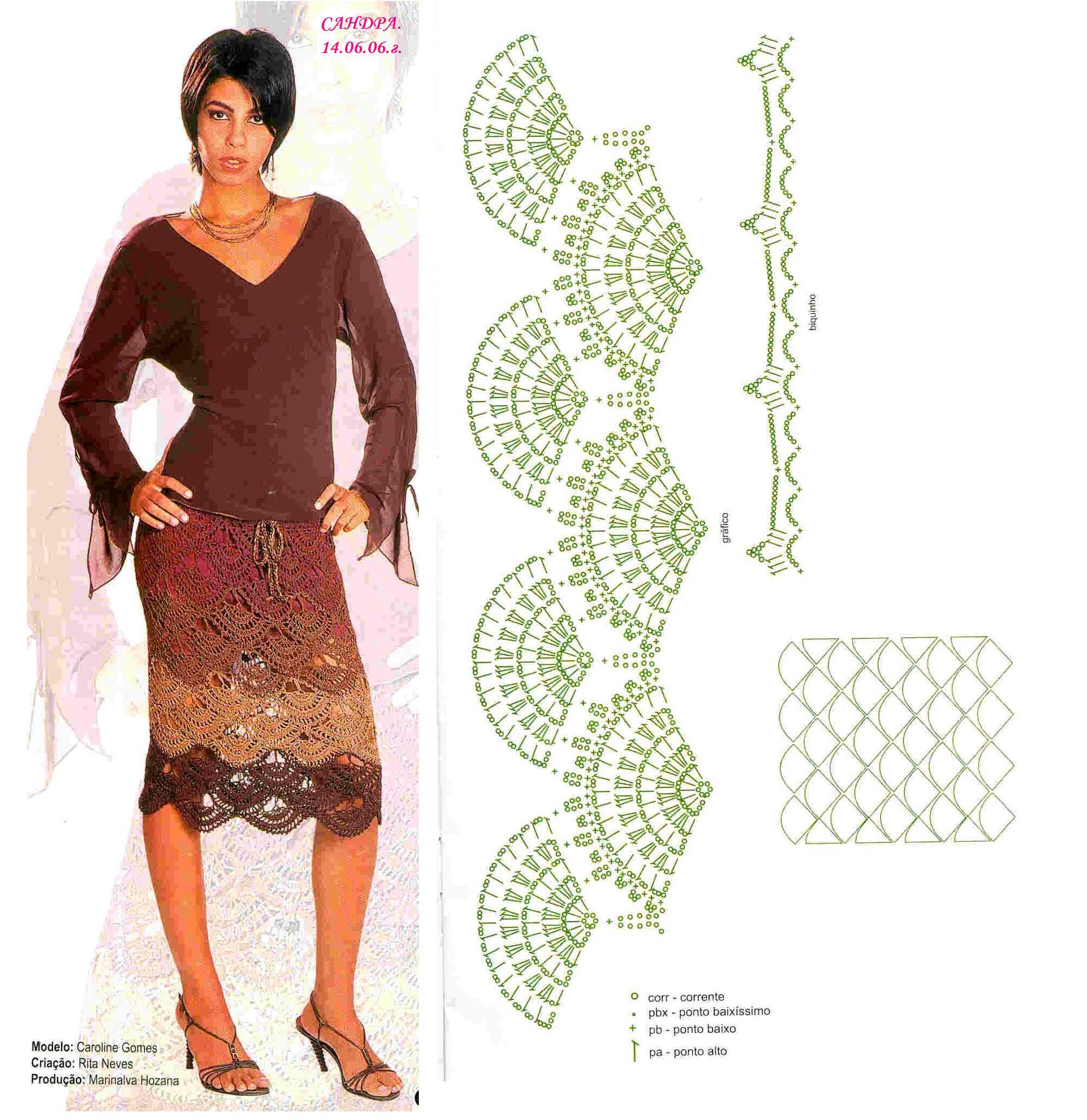 Стильные вязанные юбки со схемами