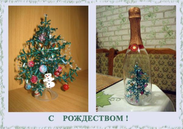 С рождеством христовым .  Это та самая ёлочка, которую мы делали с дочкой.  Украсили её бусинами, которые очень...