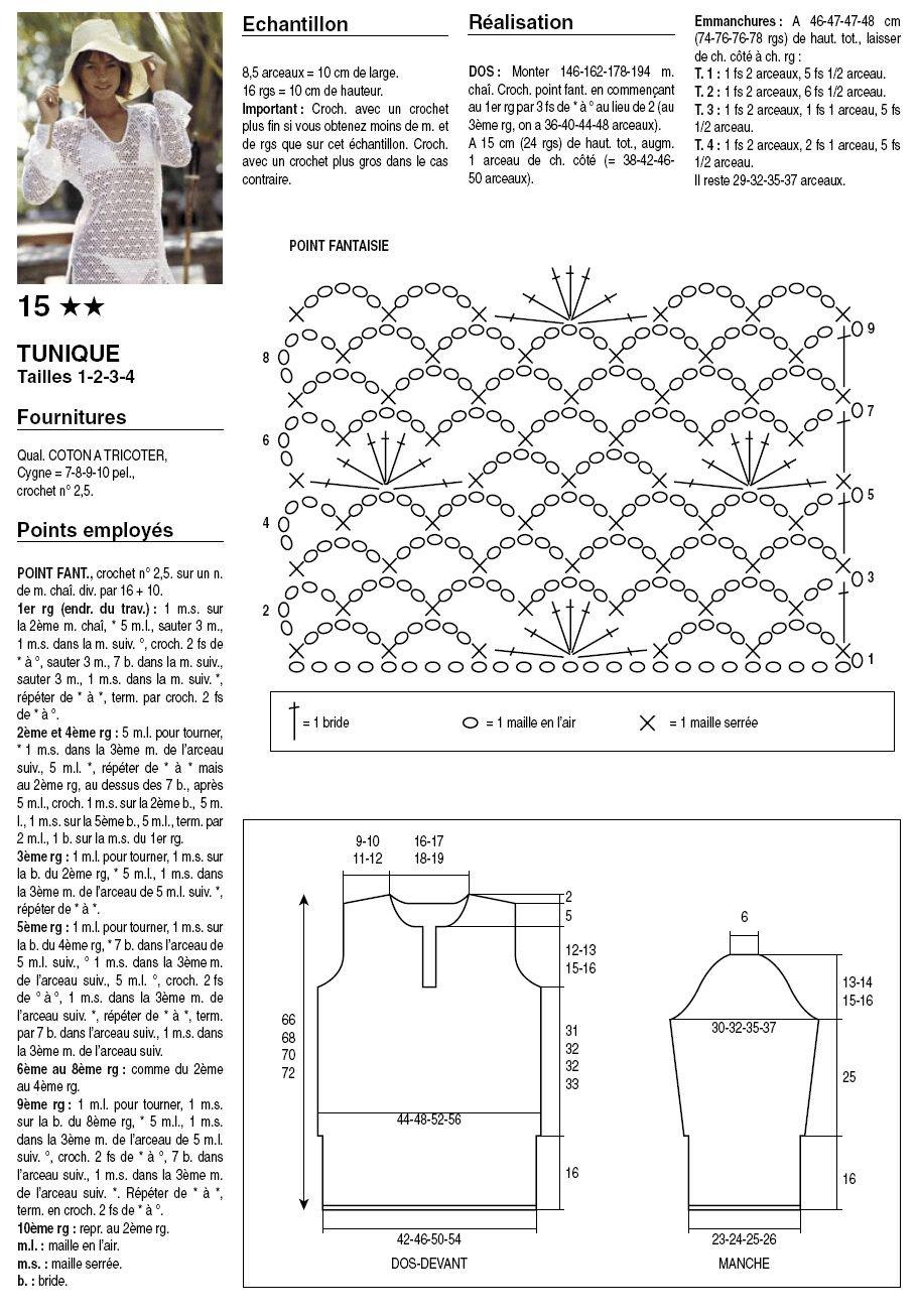 Туника пляжная крючком схемы и описание119