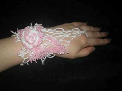 Свадебный браслет.  Украшения из бисера.