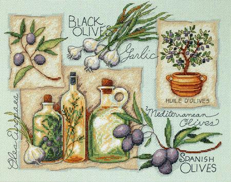 ...осталось и схема, канва была с нанесенным рисунком, но можно и так просто на бежевой вышить в оливках тоже...