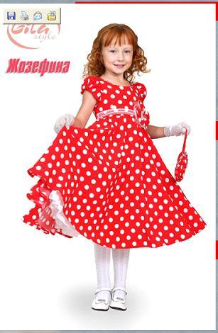 Детское платье в красный горох