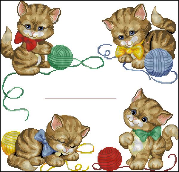 котенок с клубком схема вышивки