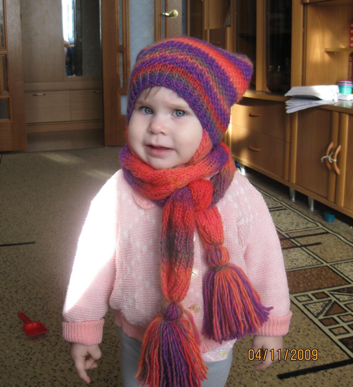 Вязание детские шапочки и шарфы для девочек