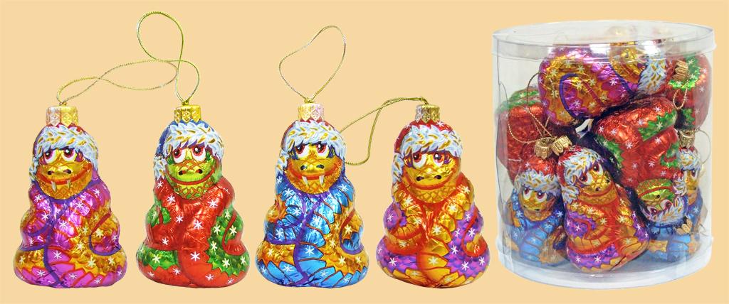 Шоколадные фигурки ЁЛОЧНЫЕ ИГРУШКИ-ЗМЕЙКА НА ЁЛКУ (8 туб х 12шт) 40гр