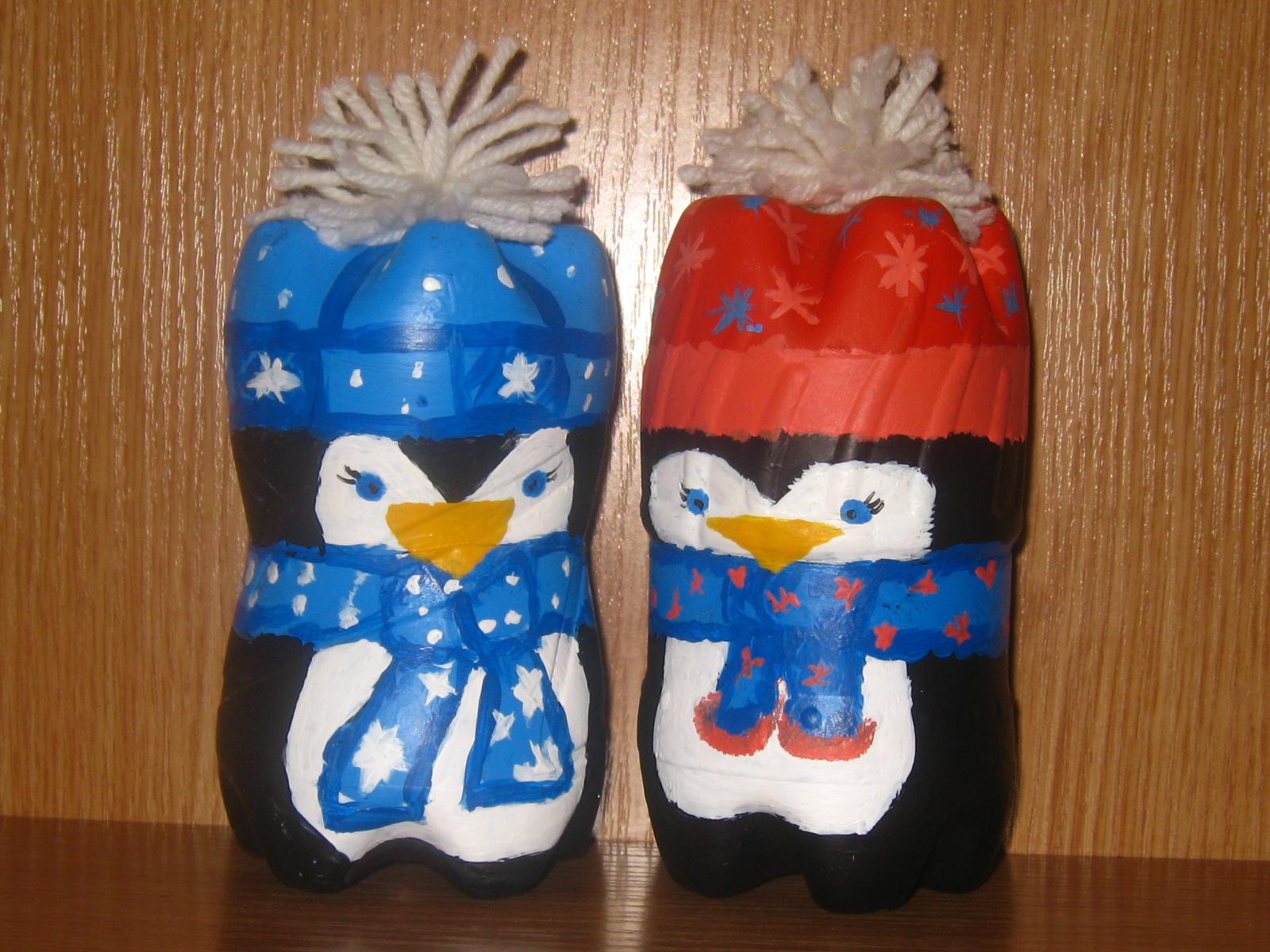 Новогодние поделки своими руками пингвины из пластиковых