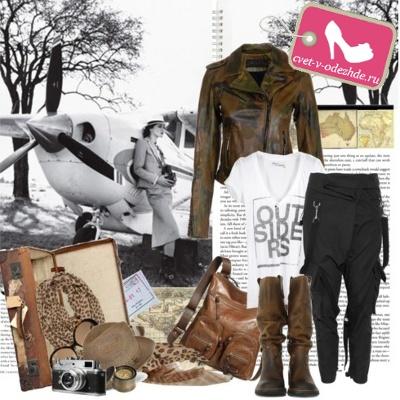 Оригинальные брюки вместе с грубыми коричневыми сапогами, свободной майкой, курткой в стиле милитари и удачно...