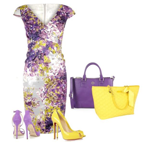 Сиреневые босоножки на каблуке, фиолетовое платье с желтым принтом, фиолетовая или желтая сумка.