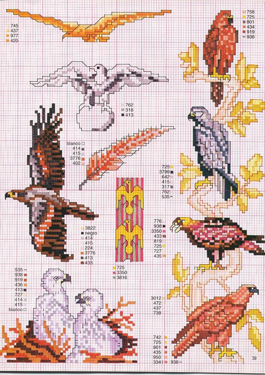 Схема для вышивки гладью орел 28