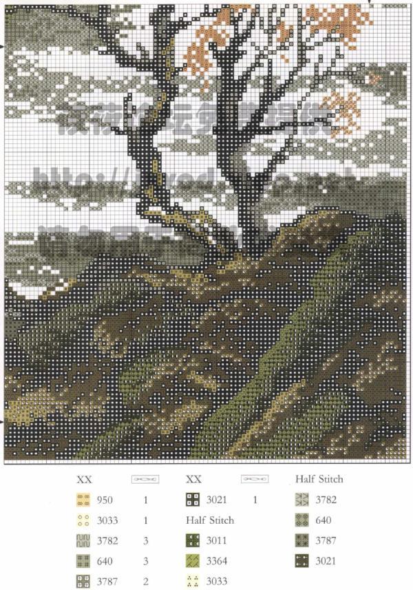 Вышивка китайский пейзаж схема вышивки 74