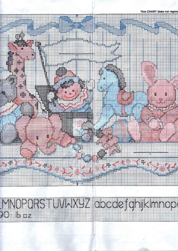Вышивка крестом полка с игрушками