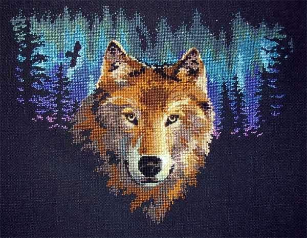 Волчий взгляд вышивка крестом 9