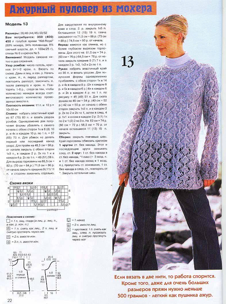 Вязаный Пуловер Из Мохера