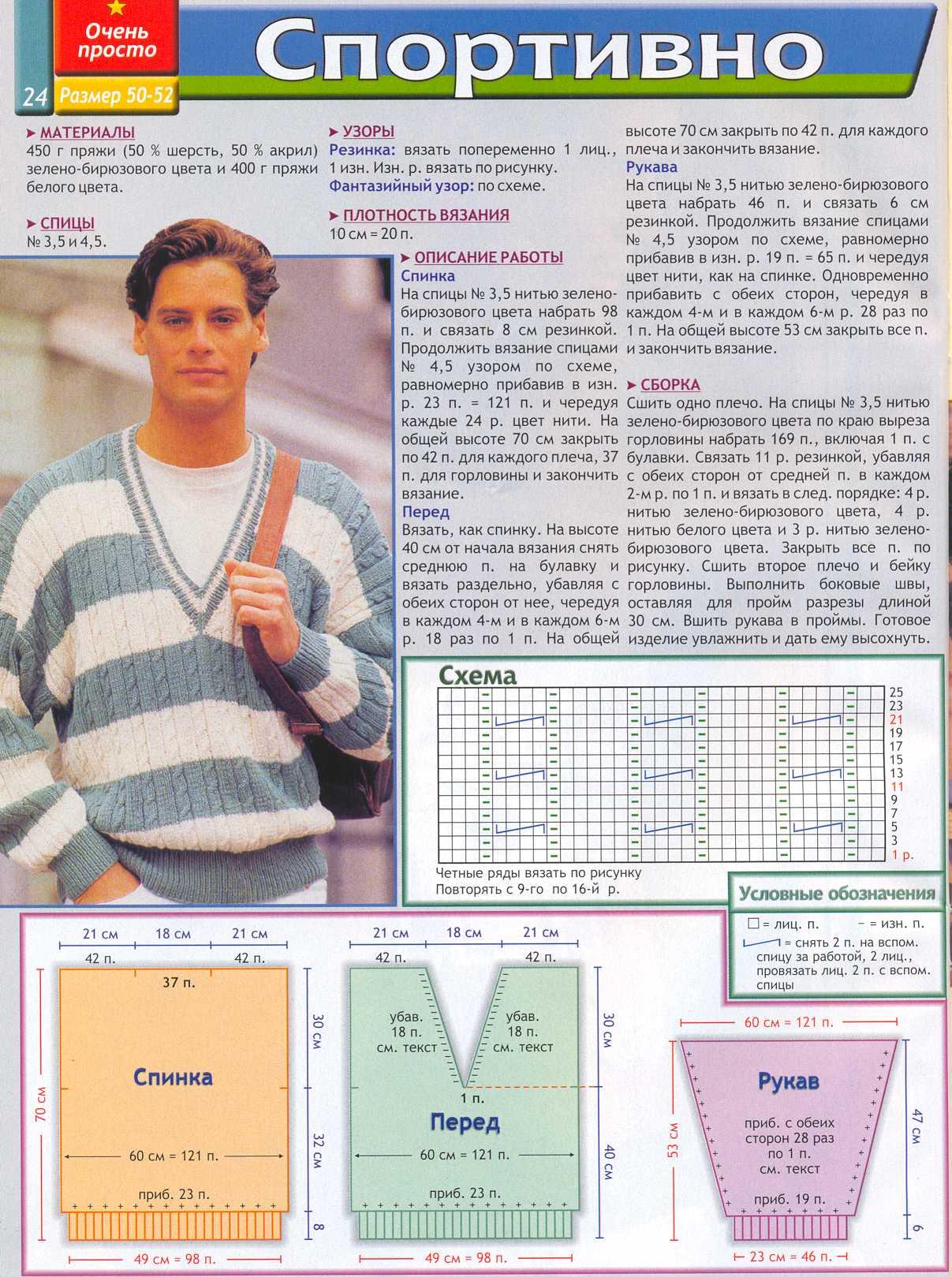 Вязания спицами мужская мода