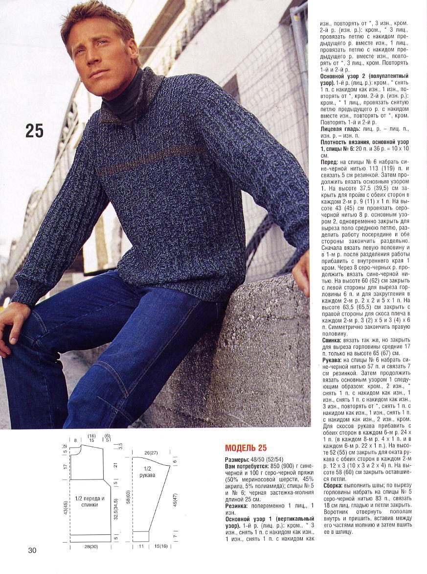 Вязание спицами для мужчин с описанием фото для