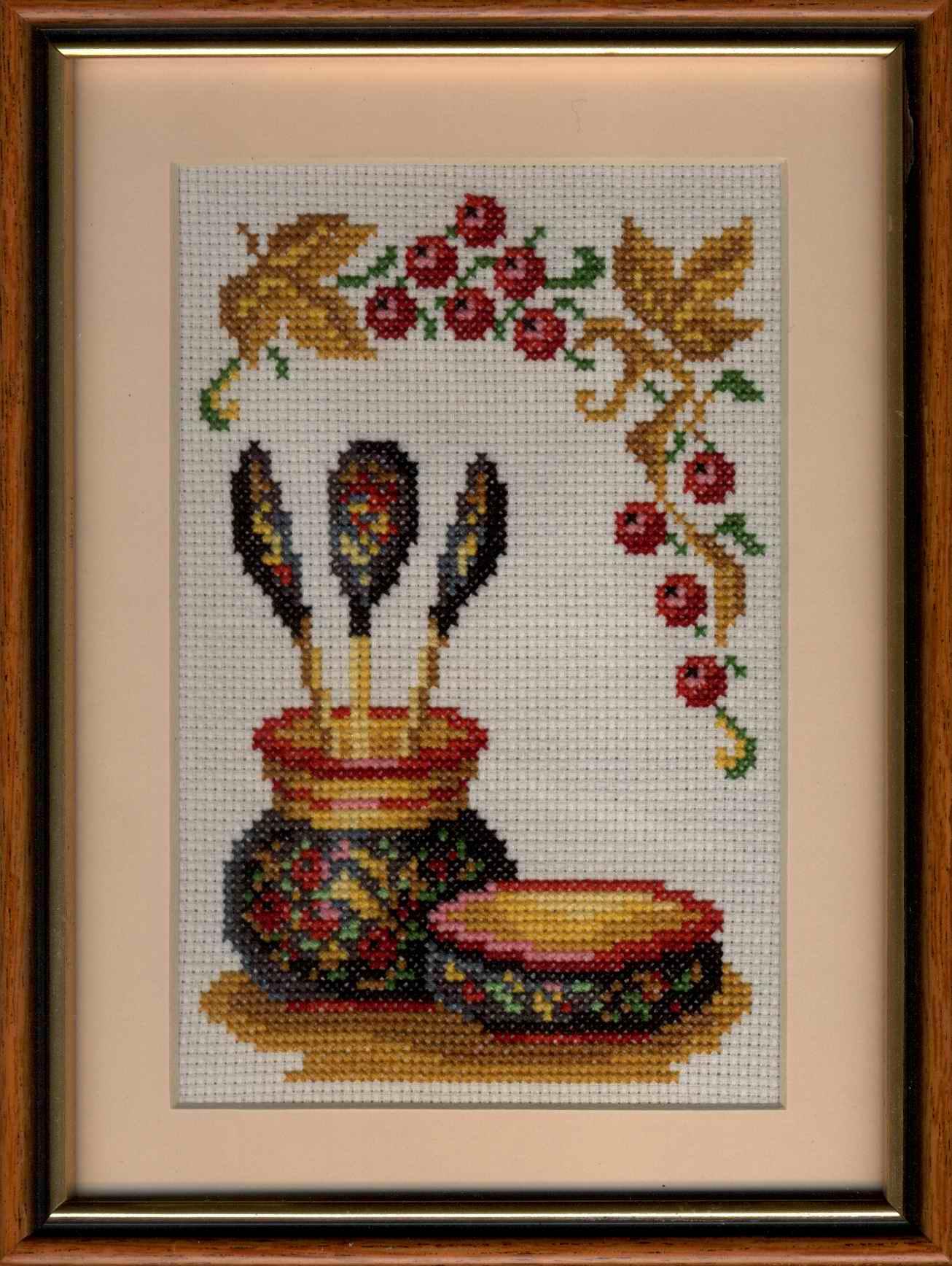 Вышивка крестом для кухни хохлома