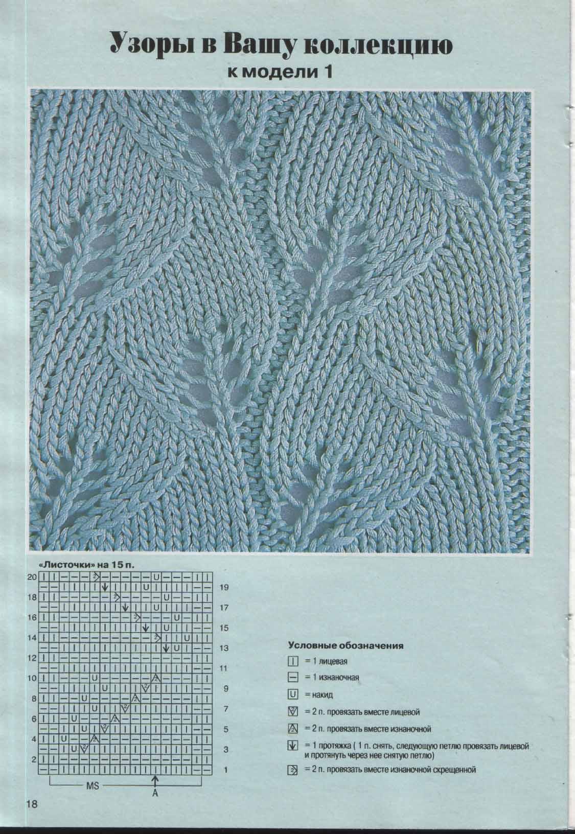 Узоры для вязания из листьев