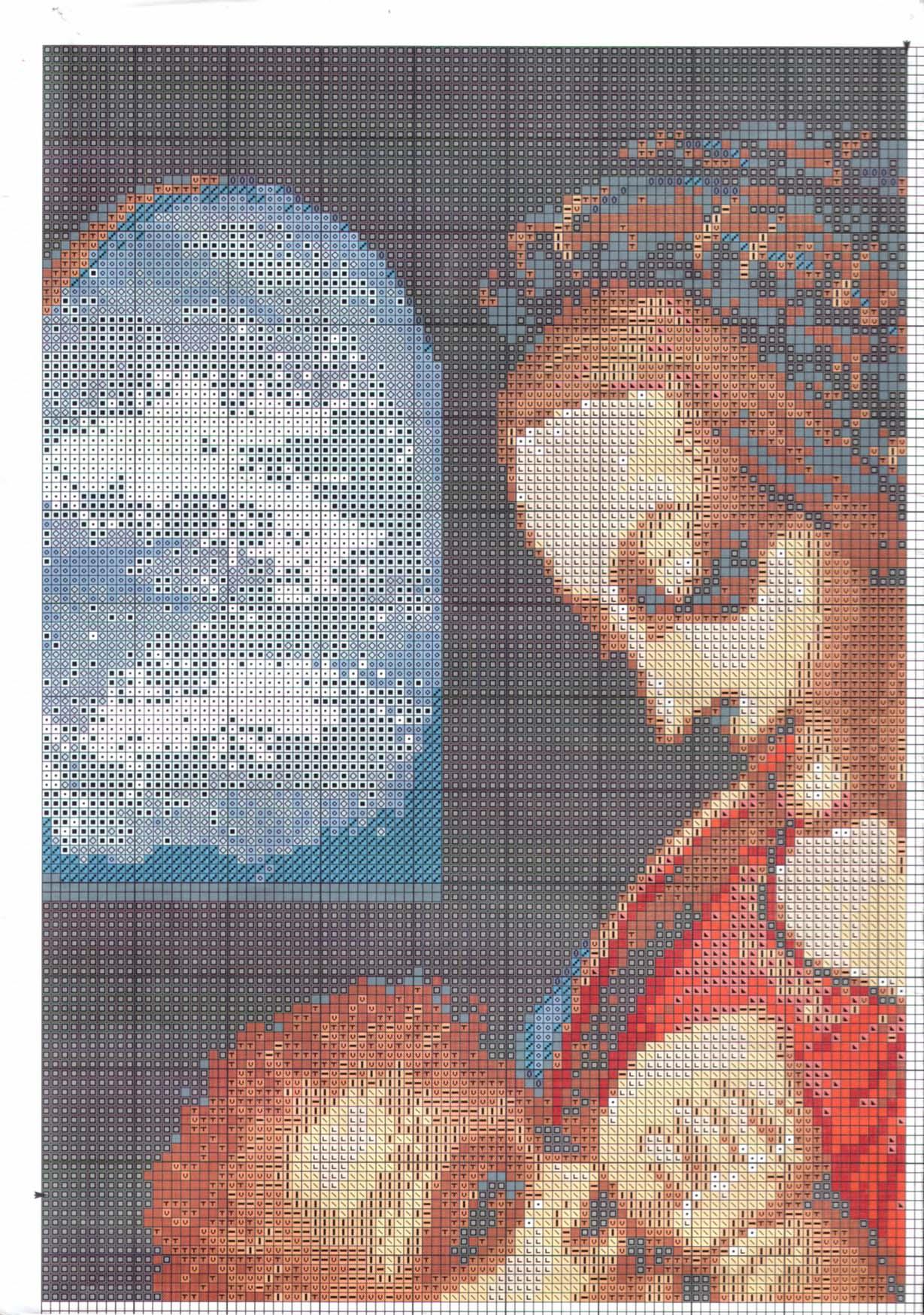 Схема Мадонна с ангелами вышивка крестиком 80