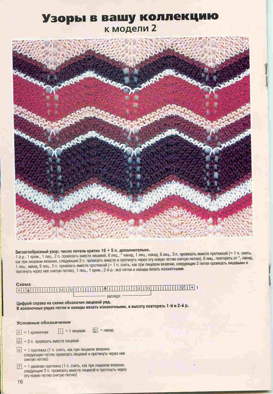 Схема вязания спицами Узор зигзаг Missoni Pinterest Missoni 95