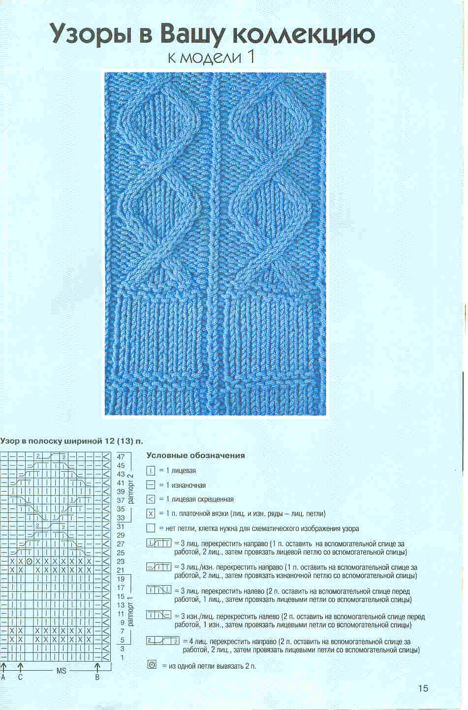 Простые узоры для вязания спицами из лицевых и изнаночных петель (подборка) 76