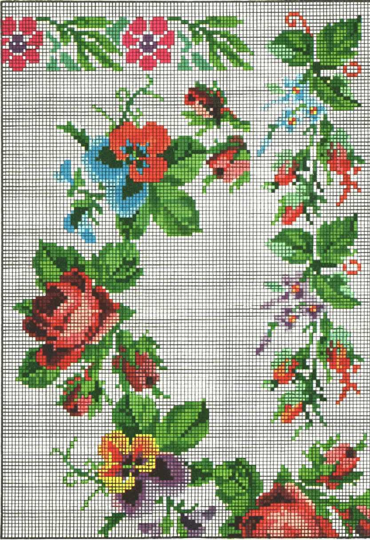 Схемы цветочного орнамента вышивки крестом