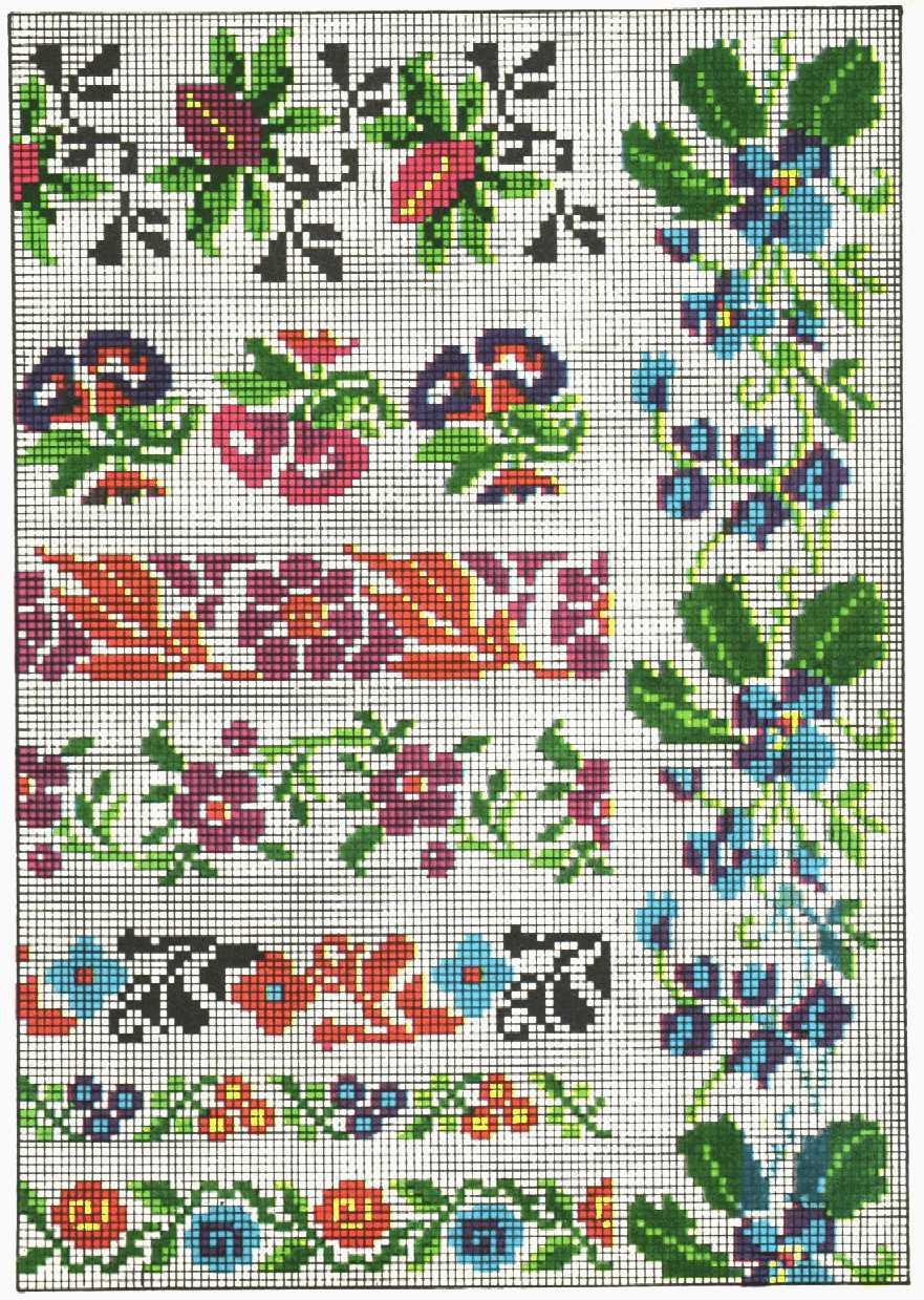 Схема вышивки цветочного орнамента крестом