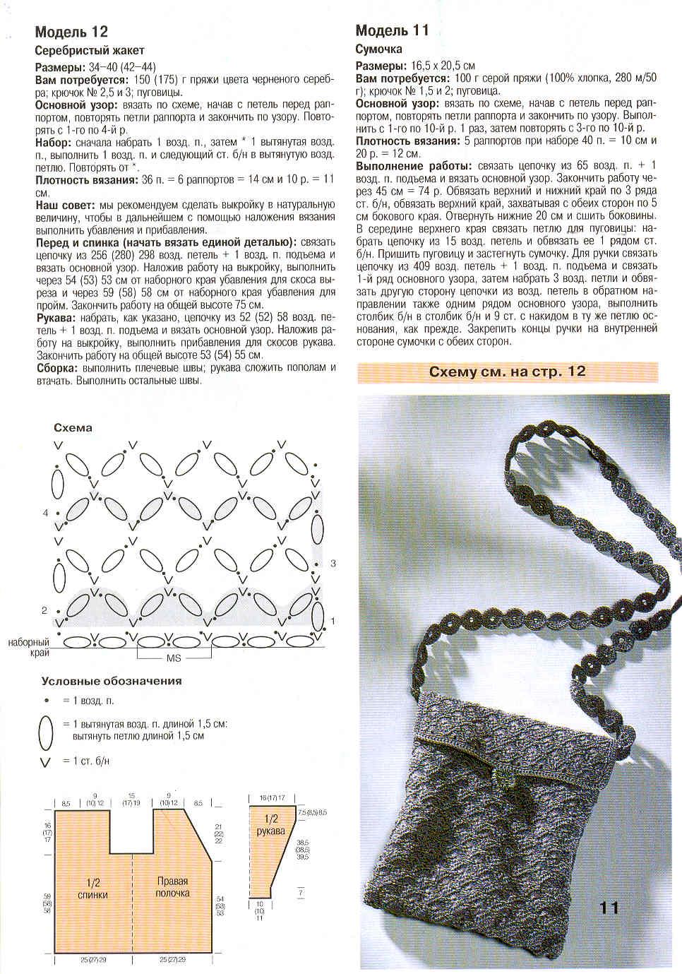 Узоры вязания для сумок