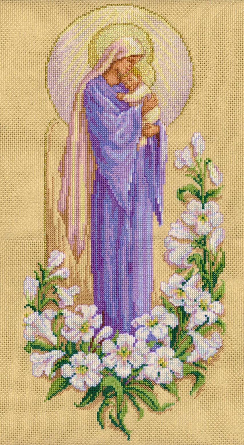 Вышивка крестом богородица с младенцем схема