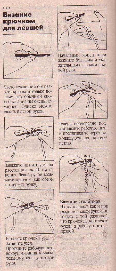 Уроки вязание крючком левой рукой