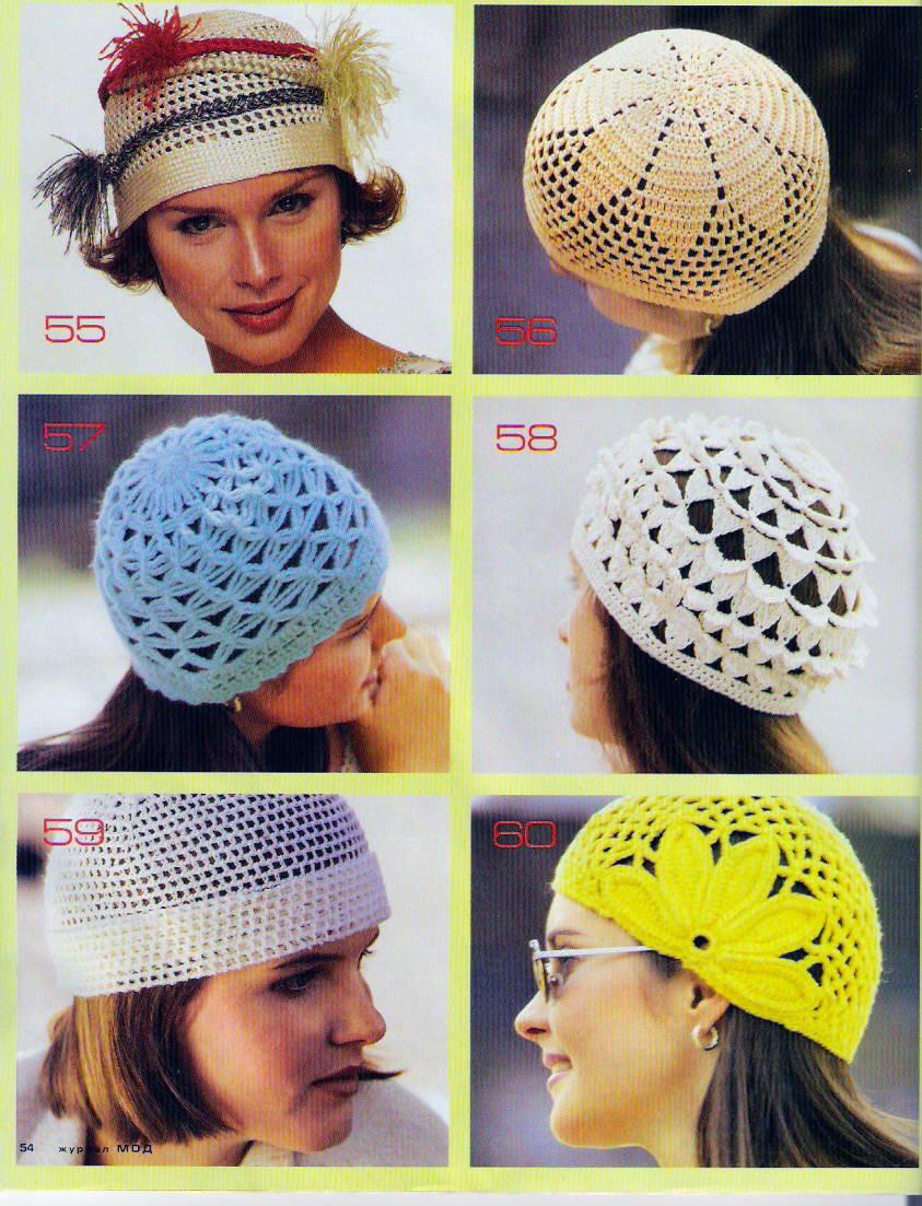 Вязание крючком женские шапочки летней 801