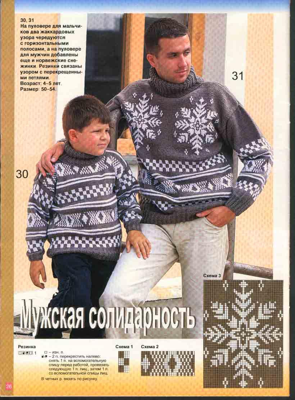 Вязание мужского свитера с узором